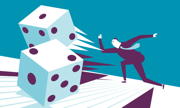 Stock illustration: Man in a suit rolling giant dice.