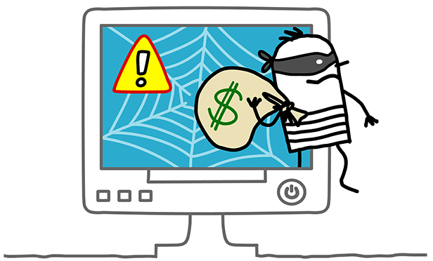 Stock illustration: Thief sneaking out of computer monitor