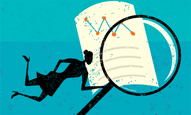 Stock illustration: Financial docs under scrutiny
