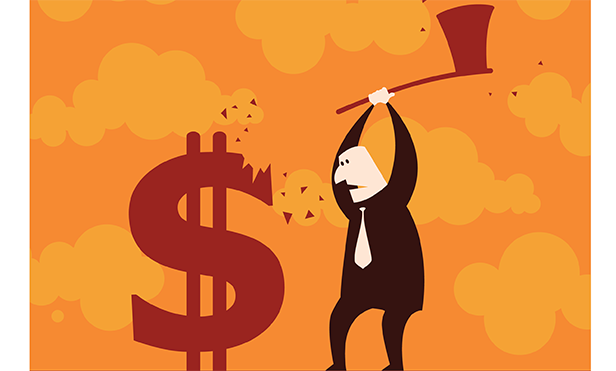 Stock illustration: Cutting dollars with an ax