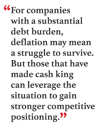 """Pullquote: """"For companies with a substantial debt burden, deflation may mean a struggle to survive. But those that have made cash king can leverage the situation to gain stronger competitive positioning."""""""