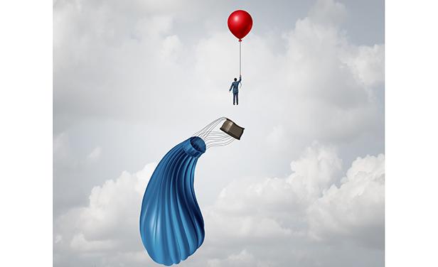 Stock illustration: Businessman escaping deflating balloon