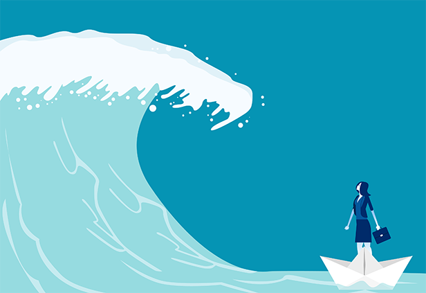 Stock illustration: Tidal wave