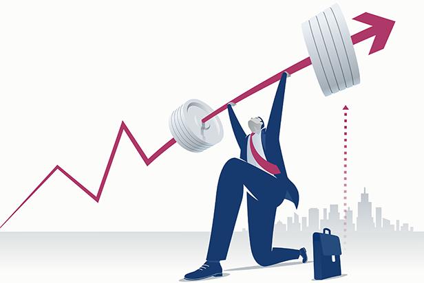 Stock illustration: Businessman lifting weights