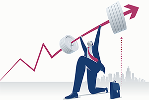 Stock illustration: Businessman lifting weights