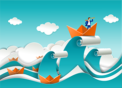 Stock illustration: Origami boat on a large wave