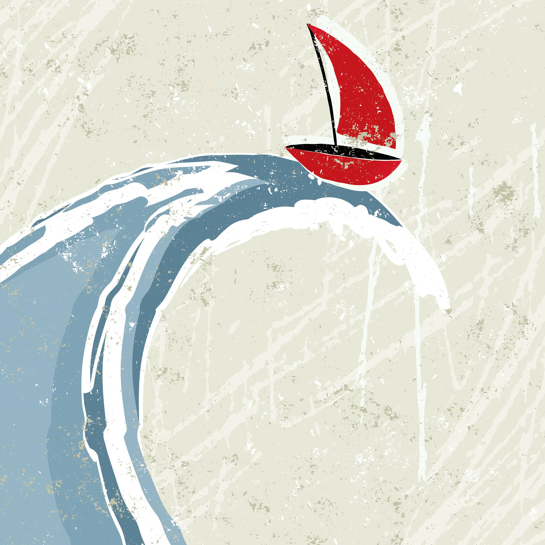 Stock illustration: Sailboat on giant wave
