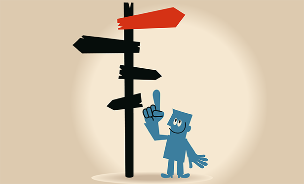 Stock illustration: Signs pointing in a new direction
