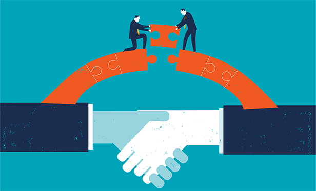 Stock illustration: Putting the final puzzle piece in a business relationship