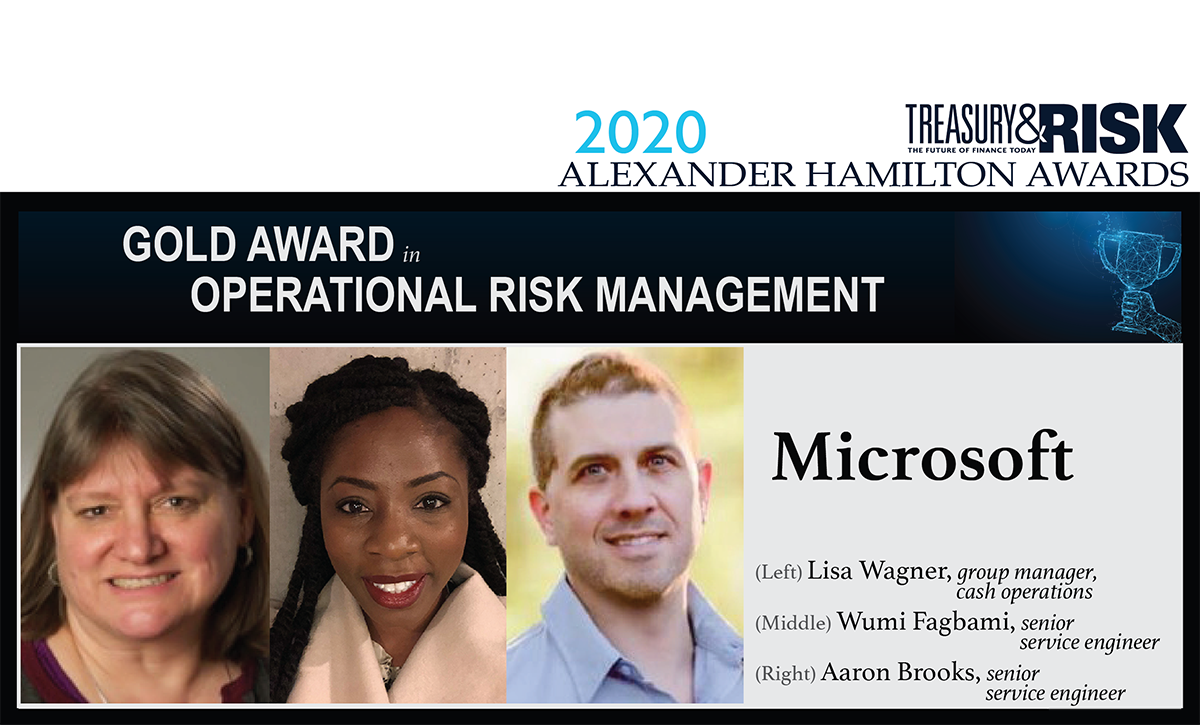 Congratulations to Microsoft, for winning the 2020 Gold Alexander Hamilton Award in Operational Risk Management!