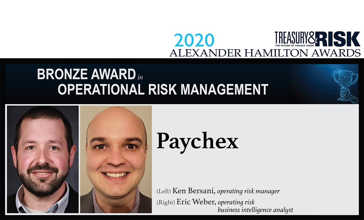 Bronze award winner in Operational Risk Management: Paychex