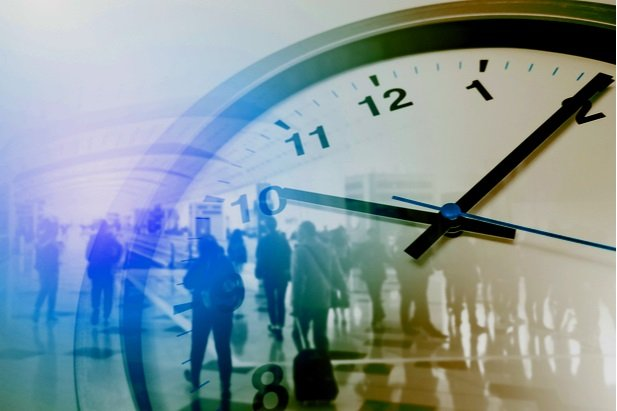 collage of clock and commuters