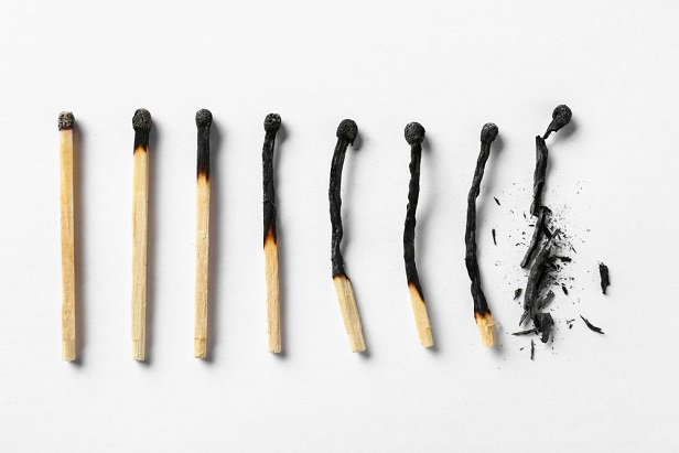 series of burnt and broken matches