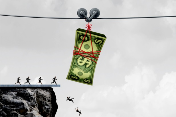 illustration of tiny people running off cliff trying to reach money dangling from zip line