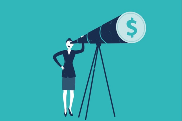 drawing of woman looking into telescope with dollar sign at end