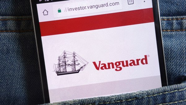 Vanguard investor homepage on a phone screen