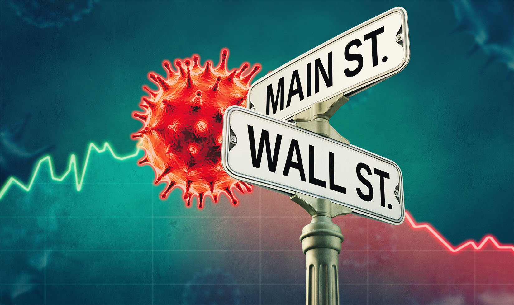 Illustration of Covid virus next to Main Street and Wall Street signs