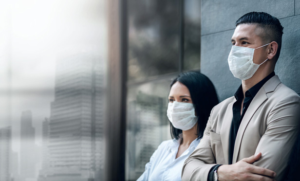 Stock photo: Businesspeople with masks