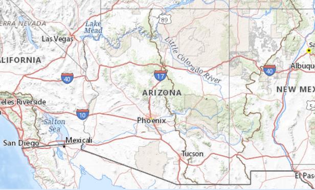 A map of Arizona