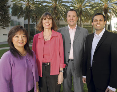 Debbie Kukreja, treasury operations manager; Karen Craig, managing counsel;  Daniel Tschopp, treasury valuations manager; and Nishant Rohatgi, treasury  business solutions manager