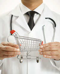 doctor with shopping cart