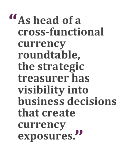 """""""As head of a cross-functional currency roundtable, the strategic treasurer has visibility into business decisions that create currency exposures."""""""