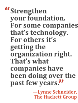 """Strengthen your foundation. For some companies that's technology. For others it's getting the organization right. That's what companies have been doing over the past few years."" --Lynne Schneider, The Hackett Group"