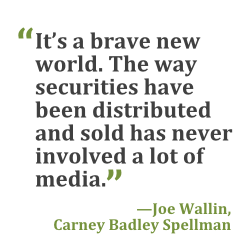 """""""It's a brave new world. The way securities have been distributed and sold has never involved a lot of media."""" --Joe Wallin, Carney Badley Spellman"""