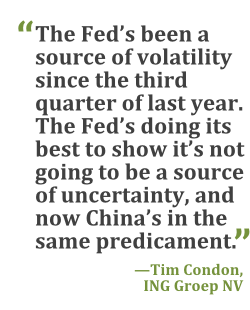 """The Fed's been a source of volatility since the third quarter of last year. The Fed's doing its best to show it's not going to be a source of uncertainty, and now China's in the same predicament."" --Tim Condon, ING Groep"