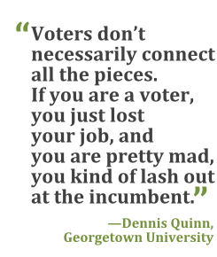 """Voters don't necessarily connect all the pieces. If you are a voter, you just lost your job, and you are pretty mad, you kind of lash out at the incumbent."" --Dennis Quinn, Georgetown University"