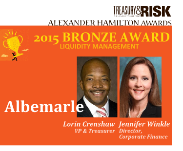 2015 Bronze Alexander Hamilton Award in Liquidity Management: Albemarle