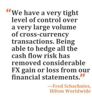 """We have a very tight level of control over a very large volume of cross-currency transactions. Being able to hedge all the cash flow risk has removed considerable FX gain or loss from our financial statements."" --Fred Schacknies, Hilton Worldwide"