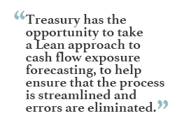 """Treasury has the opportunity to take a Lean approach to cash flow exposure forecasting, to help ensure that the process is streamlined and errors are eliminated."""