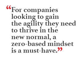 """For companies looking to gain the agility they need to thrive in the new normal, a zero-based mindset is a must-have."""