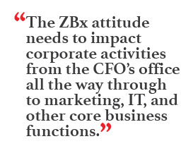 """The ZBx attitude needs to impact corporate activities from the CFO's office all the way through to marketing, IT, and other core business functions."""