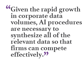 """Given the rapid growth in corporate data volumes, AI procedures are necessary to synthesize all of the relevant data so that firms can compete effectively."""