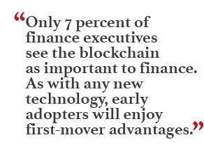"""""""Only 7 percent of finance executives see the blockchain as important to finance. As with any technology, early adopters will enjoy first-mover advantages."""""""