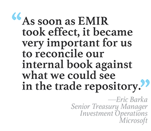 """As soon as EMIR took effect, it became very important for us to reconcile our internal book against what we could see in the trade repository."" --Eric Barka, Senior Treasury Manager, Investment Operations, Microsoft"